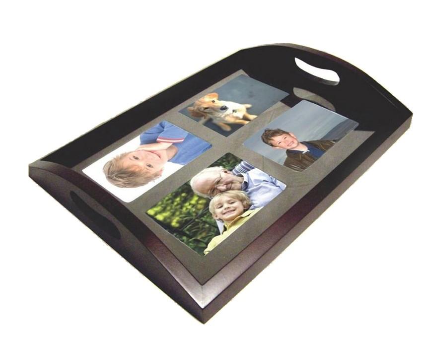 Bandeja de madera portafotos