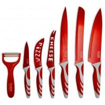 48-CMA-700R Juego de 6 cuchillos + pelador | Rojo y blanco