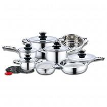 48-EB-16-STEEL Batería de cocina de acero inoxidable | 16 piezas (artículo)