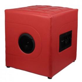 Puf reposapiés con altavoz incorporado con conexión bluetooth + lector de tarjeta SD | Rojo