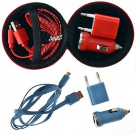 Kit portátil cargador con micro USB y complementos en funda