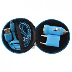 Kit portátil cargador con cable de 8 Pin y complementos en funda   Azul