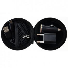 Kit portátil cargador con cable de 8 Pin y complementos en funda   Negro