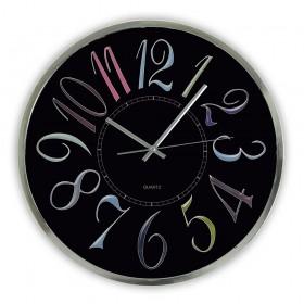 Reloj de pared redondo con esfera negra y números coloridos