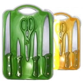 Juego de 4 cuchillos + tijeras + tabla de cortar en blister