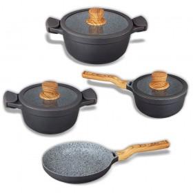 Batería de cocina antiadherente 7 piezas con revestimiento efecto granito
