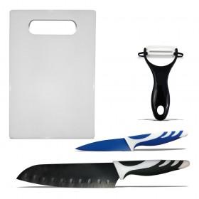 Juego de 2 cuchillos + pelador + tabla en blister