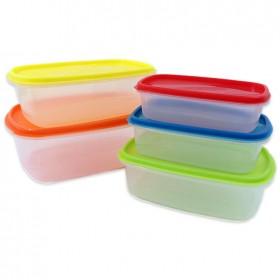 Fiambreras de plástico herméticas | Juego de 5 recipientes + 5 tapas