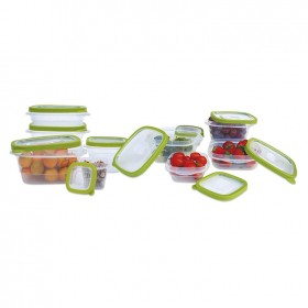 Fiambreras de plástico herméticas transparentes | Juego de 10 recipientes + 10 tapas