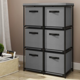 Mueble cómoda de 6 cajones-cubo de color gris